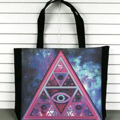 Women triangle print designer bag/shoppingbag » Fashion drop