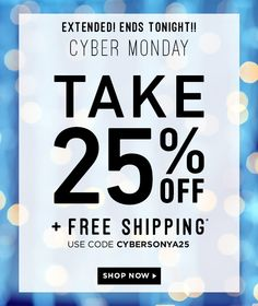 #cybermonday deals extended!! Today Only save 25% + Free Shipping #sonyadakar