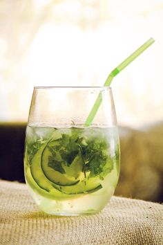 BASILIC ~~~ cucumber, basil, citrus vodka, elderflower liqueur, and club soda. [parc brasserie basilic copycat recipe] [cakeoversteak]
