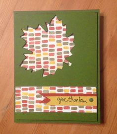 Color Me Autumn Accents | Midnight Crafting die cut leaf using Autumn Accents Bigz Die, layer DSP underneath Good Greetings Handmade Stampin Up Card #cardmaking Holiday Catalog