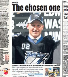 Tampa Bay Times clipping from the June 20, 2008 selection of Steven Stamkos first overall in the 2008 NHL Entry Draft.