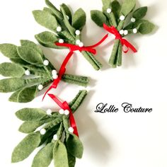 Felt Christmas felt Mistletoe felt ornaments by ModernStyleHoliday