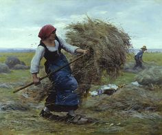 Harvest Time by Julien Dupré - 26 x 32 inches Signed french realist realism academic genre figures figurative haymakers hay maker haying