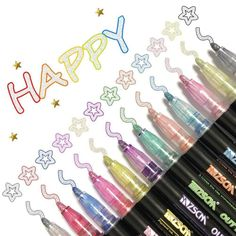 Birthday Greetings, Birthday Cards, Outline Designs, Maila, Color Magic, Marker Pen, Permanent Marker, Paint Pens, Metallic Colors