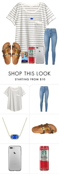 """""""sorry i haven't been posting, be busy lately!!"""" by arieannahicks ❤ liked on Polyvore featuring H&M, 7 For All Mankind, Kendra Scott and Birkenstock"""