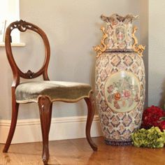 Floor standing oriental, hand painted vintage vase - fabulous with any colour scheme. £249