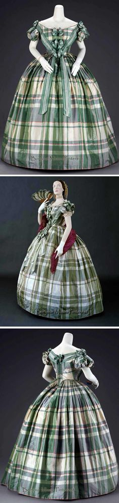 Evening dress in 2 parts & pair of hair bows that match dress trimming, American, ca. 1859–60. Green, white, & pink plaid silk taffeta with bows and streamers of green & white striped taffeta ribbon. Museum of Fine Arts, Boston