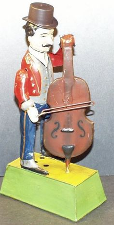"""Vintage 1910 Guentherman Musical Cello Player Clockwork Tin Toy, hand painted, stands 9-3/4"""" tall, beautiful restoration"""