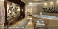 The Leela Kempinski Gurgaon Hotel and Residences- spacious superbly decorated bathroom