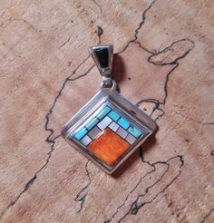 Southwest small inlay pendant by LanciaArts on Etsy