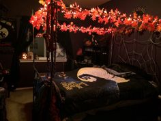 After a really long, stressful day I am finally home and in my personal little Halloween Town sanctuary. I've been asked several times if I ever get sick of the Halloween theme 365 days a year. The answer is, NO! It's comforting, actually. Room Ideas Bedroom, Bedroom Themes, Dream Bedroom, Diy Bedroom Decor, Bedrooms, Halloween Bedroom, Christmas Bedroom, Halloween Town, Autumn Theme