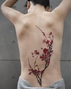Cherry Blossom Tattoo Designs are accepted by many people as these are mainly nature-themed tattoos. Hence, here we are giving you 9 Cherry Blossom Tattoo D Blossom Tree Tattoo, Tree Tattoo Back, Back Tattoos, Body Art Tattoos, Sleeve Tattoos, Fox Tattoos, Deer Tattoo, Raven Tattoo, Tattoo Ink