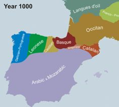 Linguistics Map of the Iberian Peninsula. Map showing the historical retreat and expansion of Portuguese within the context of its linguistic neighbours between the year 1000 and Portuguese Language, Spanish Language, Catalan Language, Portuguese Empire, Arabic Language, Learn Brazilian Portuguese, Portuguese Lessons, Ap Spanish, Learn A New Language
