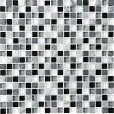 black and white mosaic glass tile - Google Search