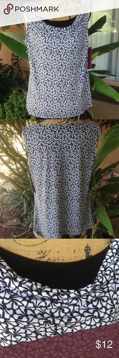 REDUCED 212 collection printed tank NWT REDUCED 212 Collection Black and white printed cowl  neck tank. The cowl neck has a black  piece underneath to make it look like a layered top. 95% polyester and 5% spandex NWT 212 Collection Tops Tank Tops