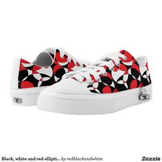 Fabulous Black, white and red ellipticals Custom Zipz Low T Printed Shoes with matching fashion accessories!
