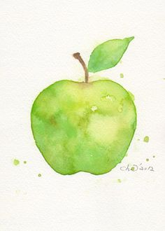 Watercolor, cute....simple This is a water color painting of an apple. Even though there is not much to show of colors and about the painting, I personally like how this painting is simple and shows how many various types of one color can be. This apple has all different kinds of the color green and this attracted me to see how much there is to know about just one color.