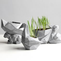 Creative Geometric Space Flowerpot Resin Animal Garden Pots Planter Crane Cute Succulent Plants Squirrel Bonsai Flower Pot