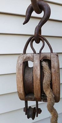 Antique Wooden Triple Pulley From Hay Barn