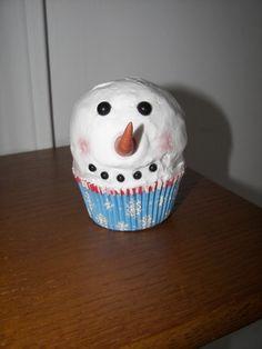 Cute Snowman Faux Cupcake