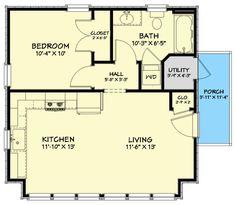 1 Bedroom House Plans, Garage Apartment Floor Plans, Guest House Plans, Pool House Plans, Cottage Floor Plans, Small House Floor Plans, Cabin Plans, Guest Cottage Plans, 20x30 House Plans