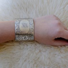 Sale! Tiffany and Co. Sterling Silver Antique Cuff Bracelet, Repurposed, Hand Chased Floral Cuff Bracelet, Size Small