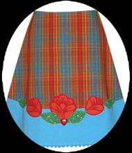 Plaid folk flower applique skirt by Made with Love by Hannah. - I have this skirt and love it.
