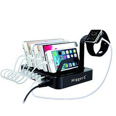 Fast & Powerfull --- All USB ports of this charger are optimized to charge your smartphones, tablets, Bluetooth headphones, power banks, e-readers, portable speakers, MP3 Players, digital cameras ,Apple watch and any device that charged by USB port. * 6 Powered USB ports --- (2 x 2.4A and 4 x 1A ) With smart IC installed,each port has fixed output current and maximizing its charge speed,Simultaneously charge up to 6 USB devices,support 2.4 fast charging. It with 6 Charging indicators,blue le