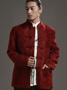 Ethnic Red Chinese Men's Clothing