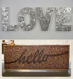 DIY Coin/Button Wall Art. Take up a whole wall, or just a spell a word. Use any…