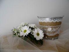 Flower girl basket bucket rustic wedding by MelindasSewingCorner