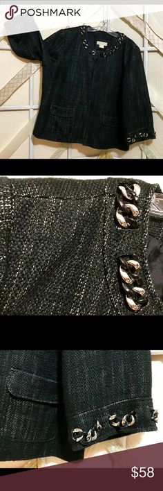 """Michael Kors Black Tweed Jacket Chain Detail 3X EUC.  Gorgeous Michael Kors tweed jacket is embellished with large silver and black chain woven around the edge of neckline and the slightly belled long sleeves.   Pit to pit measurement is 27.5"""" Length is 26.5"""" Sleeve length is 19.5"""" Across Waist and Hips also 27.5""""  Fabric content is 69% Acrylic, 31% Cotton Shell 100% Acetate lining  Poshmark Ambassador and Fast Shipper  Prices firm unless bundled Michael Kors Jackets & Coats"""