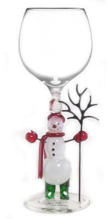 Snowman Wine Glass, hand blown glass.    www.kathysholiday.com