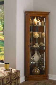 Madison Medium Brown Wood Glass Corner Curio