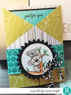 Card by Susan Liles. Reverse Confetti stamp sets: Bear Hugs and Whole Lotta Dots. Confetti Cuts: Edge Essentials and Flowers for Mom. Thank you card. Friendship card. Birthday card. Koala bear. Trifold card.