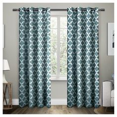 "Neptune Cotton Window Curtain Panel Pair Teal (Blue) (54""x96"") - Exclusive Home"