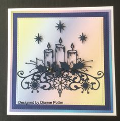 By Dianne Potter: Memory Box Glowing Candles die,Sue Wilson stars and Festive Border die,just used the middle bit,Sue Wilson Noble Squares die....