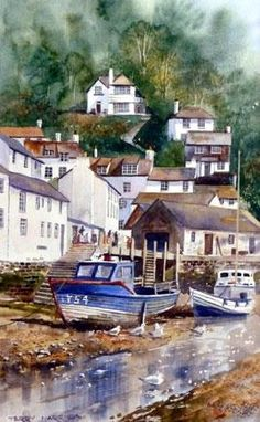 Terry Harrison - low tide Polperro watercolour