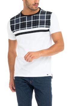 T-shirt corte justo e encaixe xadrez - Salsa