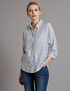 3/4 Sleeve Striped Blouse | M&S