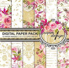 Watercolor Flower digital paper pack  gold Paper Scrapbooking