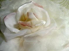 SALE Extra Large Silk and Velvet Rose Ivory Blush by APinkSwan