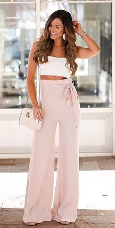 #white Sleeveless #croptop And #pink Loose #Bottom #trousers #summeroutfit #womenfashion2018 #summer #summer2018