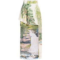 Stella McCartney Landscape Printed Vanessa Skirt (5 040 PLN) ❤ liked on Polyvore featuring skirts, white, watercolor skirts, stella mccartney skirt, button skirt, zipper skirt and white tiered skirt