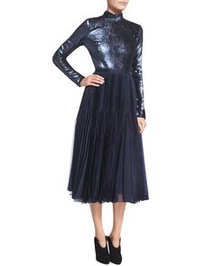 Sally LaPointe Sequined Long-Sleeve Open-Back Dress, Slate Blue