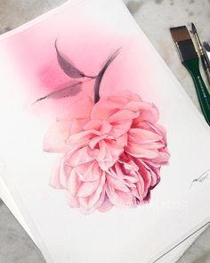 708 отметок «Нравится», 11 комментариев — Olga Melikhova_artist (@iamvredina) в Instagram: «Pink rose. My watercolor Paper Moulin du Roy, grain fin . #watercolor #watercolour #watercolorart…»
