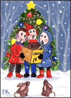 DPW Fine Art Friendly Auctions - The Little Christmas Carolers by Patricia Ann Rizzo http://www.dailypaintworks.com/buy/auction/181009
