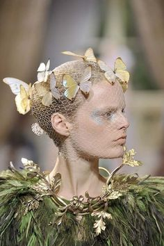 McQueen, forest fairy inspiration, costume, character, inspiration, butterflies, grass, gold