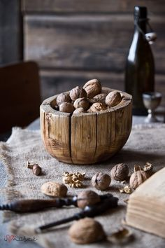 Walnuts In A Wood Vintage Bowl