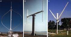 Various types of vertical axis wind turbines.  (Renewable Energy).